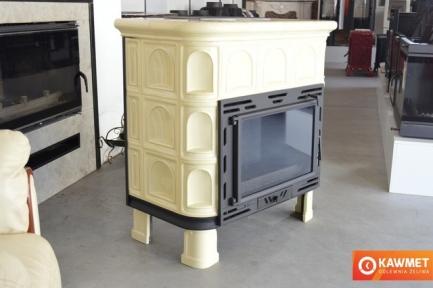 Кафельная печь камин Kaw-met W9 глянцевая кремовая 12.8 кВт