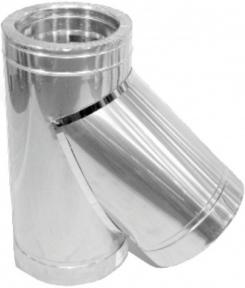 Тройник для дымохода нерж/нерж Версия Люкс 45° D-180/250 мм толщ. 0,6 мм