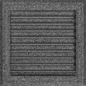 Решетка KRATKI Oskar чёрно-серебряный (покрашенная) 22х22 см с жалюзями