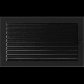 Решетка KRATKI чёрная (покрашенная) 22х37 см с жалюзями