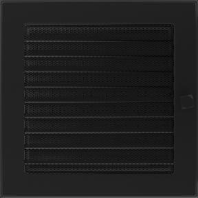 Решетка KRATKI чёрная (покрашенная) 22х22 см с жалюзями