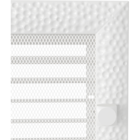 Решетка KRATKI Venus белый (покрашенная) 17х37 см с жалюзями