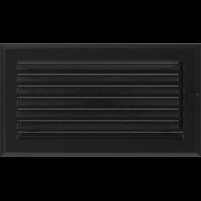 Решетка KRATKI Oskar чёрный (покрашенная) 17х30 см с жалюзями