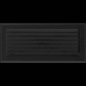 Решетка KRATKI Oskar чёрный (покрашенная) 17х37 см с жалюзями